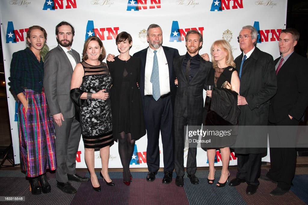 Anne Hathaway (4th L) and family members including mother Kate McCauley Hathaway (3rd L), father Gerald Hathaway (C), and husband Adam Shulman (4th R), attend the opening night of 'Ann' at Vivian Beaumont Theatre at Lincoln Center on March 7, 2013 in New York City.