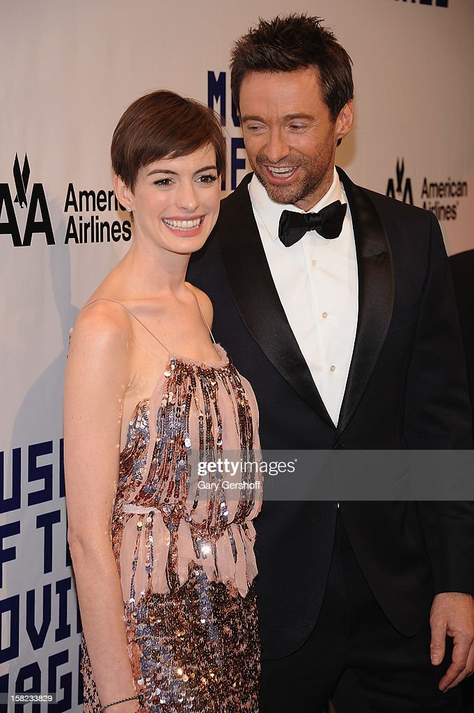 Anne Hathaway (L) and honoree Hugh Jackman attend the Museum Of Moving Image Salute To Hugh Jackman at Cipriani Wall Street on December 11, 2012 in New York City.