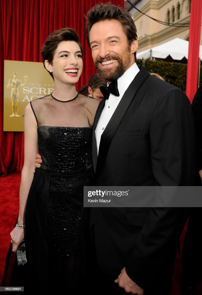 Anne Hathaway and Hugh Jackman attend the 19th Annual Screen Actors Guild Awards at The Shrine Auditorium on January 27, 2013 in Los Angeles, California. (Photo by Kevin Mazur/WireImage) 23116_016_0833.jpg