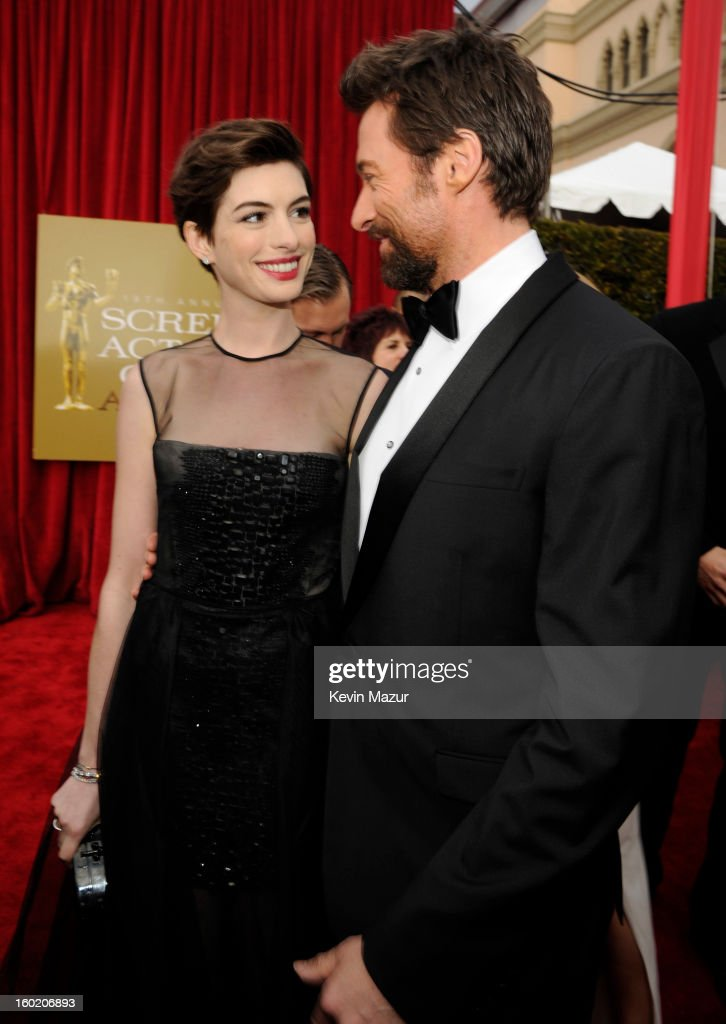 Anne Hathaway and Hugh Jackman attend the 19th Annual Screen Actors Guild Awards at The Shrine Auditorium on January 27, 2013 in Los Angeles, California. (Photo by Kevin Mazur/WireImage) 23116_016_0832.jpg