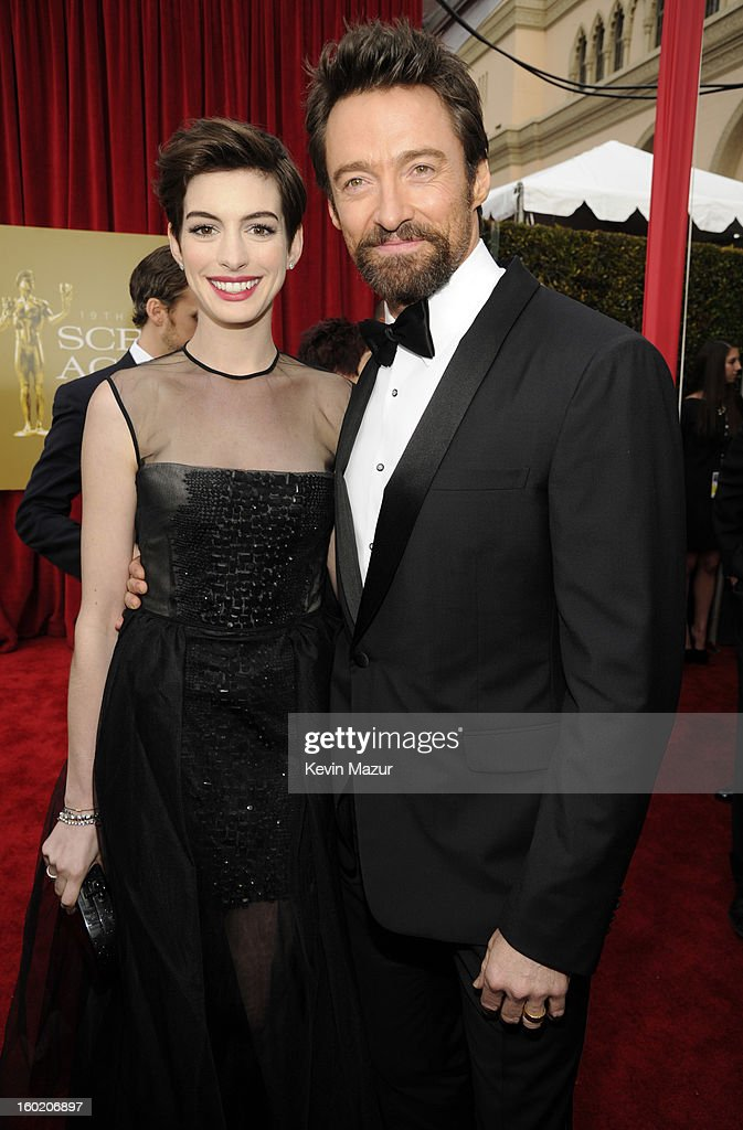 Anne Hathaway and Hugh Jackman attend the 19th Annual Screen Actors Guild Awards at The Shrine Auditorium on January 27, 2013 in Los Angeles, California. (Photo by Kevin Mazur/WireImage) 23116_016_0839.jpg