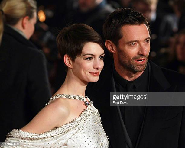 Anne Hathaway and Hugh Jackman attend the World Premiere of 'Les Miserables' at Odeon Leicester Square on December 5 2012 in London England