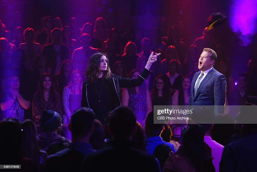 Anne Hathaway and James Corden in an epic rap battle on 'The Late Late Show with James Corden' Tuesday May 24th 2016 on The CBS Television Network