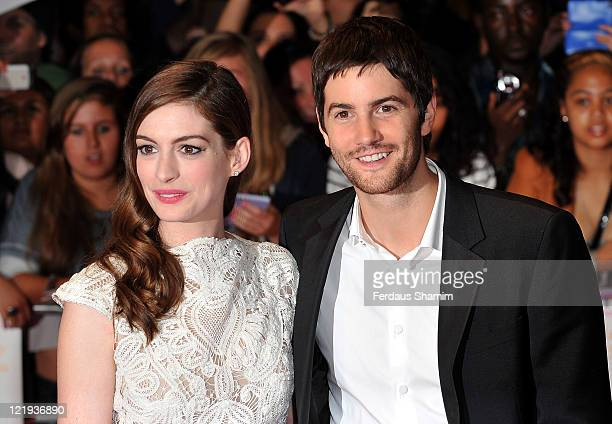 Anne Hathaway and Jim Sturgess attends the European premiere of 'One Day' at Vue Westfield on August 23 2011 in London England