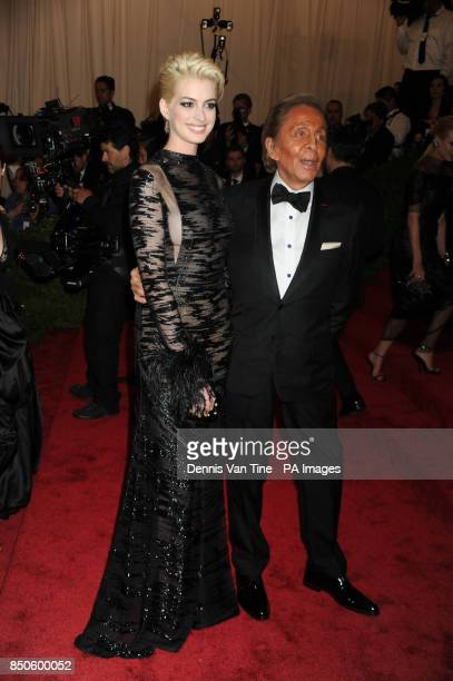 Anne Hathaway and Valentino Garavani attend the 'Punk' Chaos to Couture' Costume Institute Benefit Met Gala at the Metropolitan Museum in New York