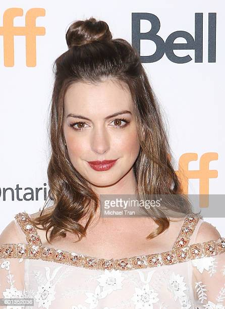 Anne Hathaway arrives at the 2016 Toronto International Film Festival 'Colossal' premiere held at Ryerson Theatre on September 9 2016 in Toronto...