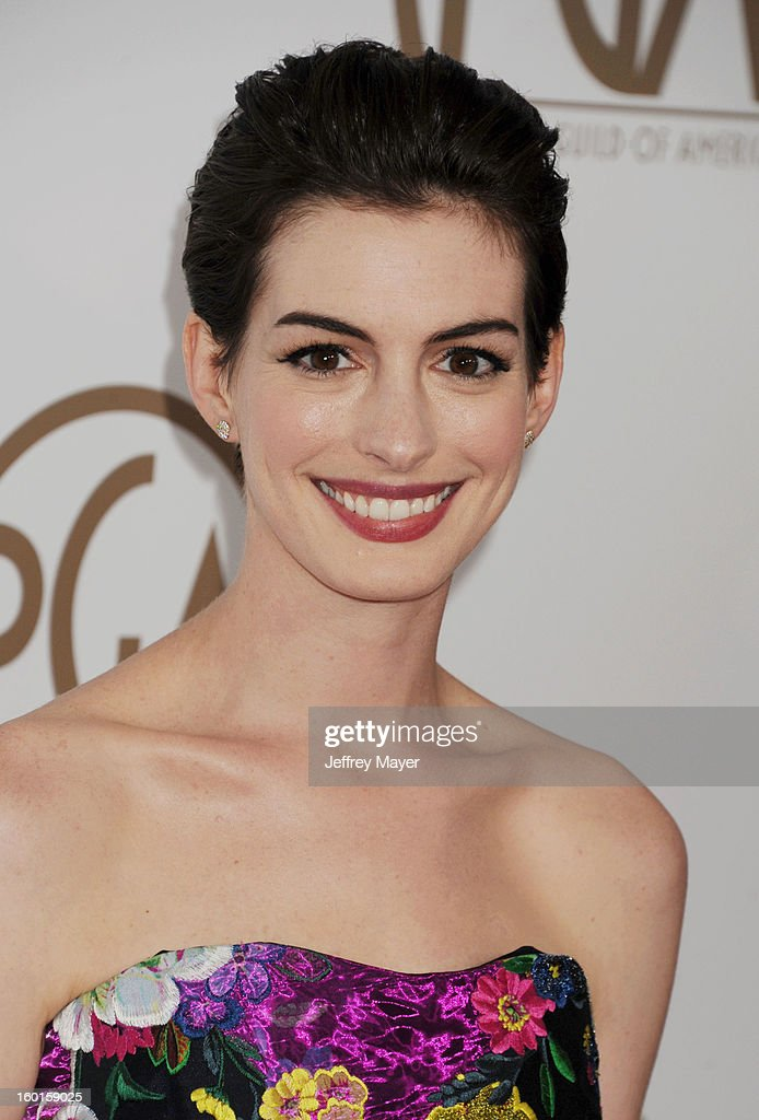 Anne Hathaway arrives at the 24th Annual Producers Guild Awards at The Beverly Hilton Hotel on January 26, 2013 in Beverly Hills, California.