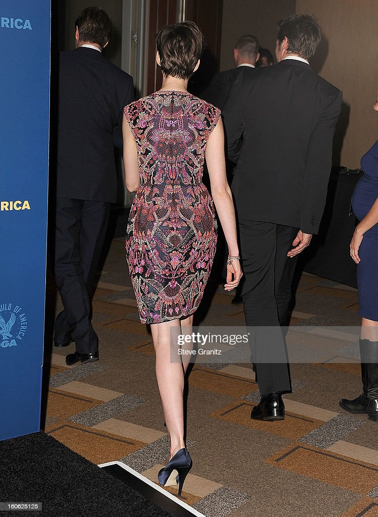 Anne Hathaway arrives at the 65th Annual Directors Guild Of America at The Ray Dolby Ballroom at Hollywood & Highland Center on February 2, 2013 in Hollywood, California.