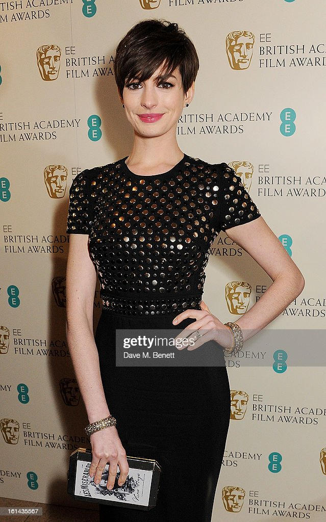 Anne Hathaway arrives at the EE British Academy Film Awards at the Royal Opera House on February 10, 2013 in London, England.
