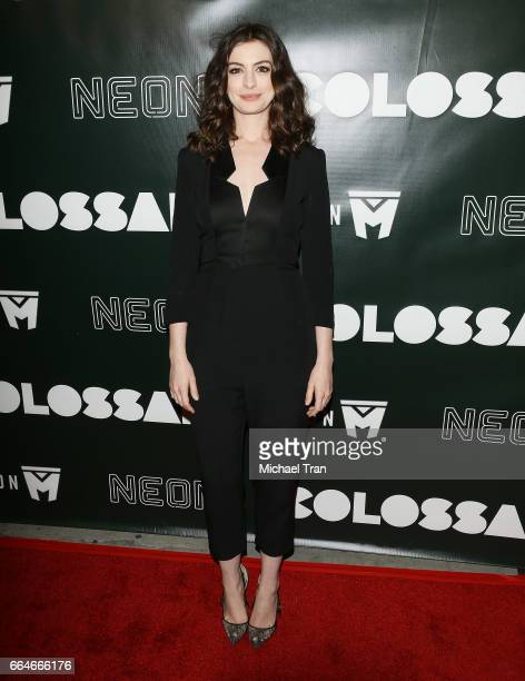 Anne Hathaway arrives at the Los Angeles premiere of Neon's 'Colossal' held at the Vista Theatre on April 4 2017 in Los Angeles California
