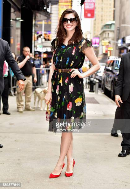 Anne Hathaway arrives to ABC's 'Good Morning America' in Times Square on April 17 2017 in New York City