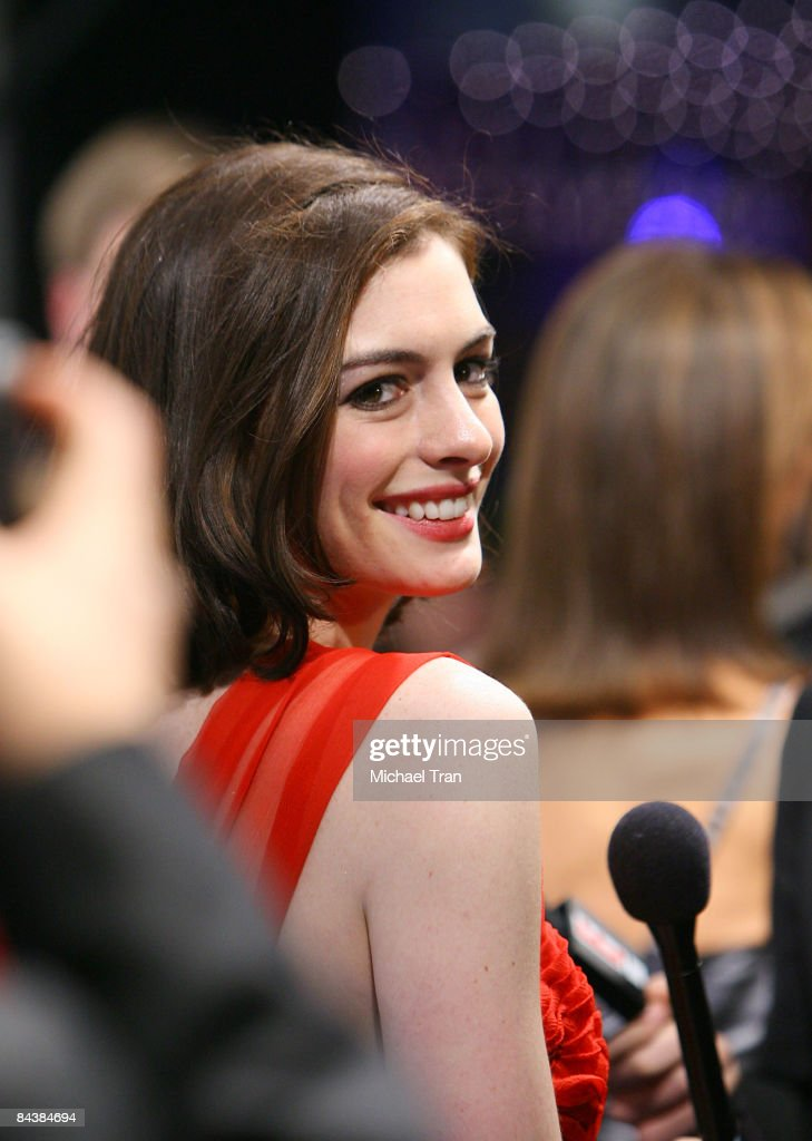 Anne Hathaway arrives to the Creative Coalition's 2009 Inaugural Ball held at the Harman Center for the Arts on January 20 2009 in Washington DC