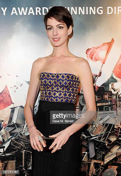Anne Hathaway attends an after party following the World Premiere of 'Les Miserables' at The Roundhouse on December 5 2012 in London England