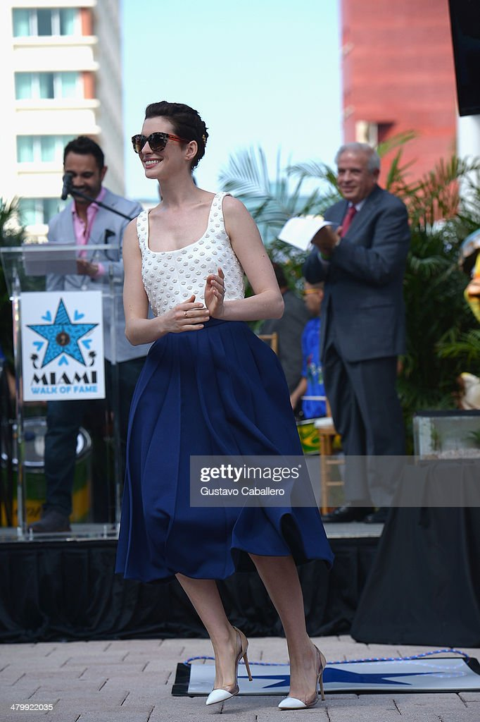 Anne Hathaway attends Miami Walk Of Fame Inauguration at Bayside Marketplace on March 21, 2014 in Miami, Florida.