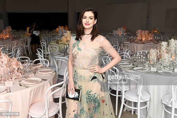 Anne Hathaway attends the 2016 Guggenheim International Gala Made Possible By Dior at Solomon R Guggenheim Museum on November 17 2016 in New York City