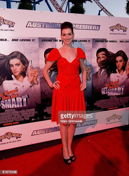 Anne Hathaway attends the Australian premiere of 'Get Smart' at Movie World on July 22 2008 in the Gold Coast Australia