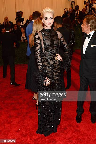 Anne Hathaway attends the Costume Institute Gala for the 'PUNK Chaos to Couture' exhibition at the Metropolitan Museum of Art on May 6 2013 in New...