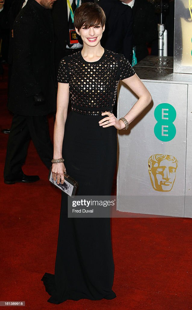 <a gi-track='captionPersonalityLinkClicked' href=/galleries/search?phrase=Anne+Hathaway+-+Actress&family=editorial&specificpeople=11647173 ng-click='$event.stopPropagation()'>Anne Hathaway</a> attends the EE British Academy Film Awards at The Royal Opera House on February 10, 2013 in London, England.