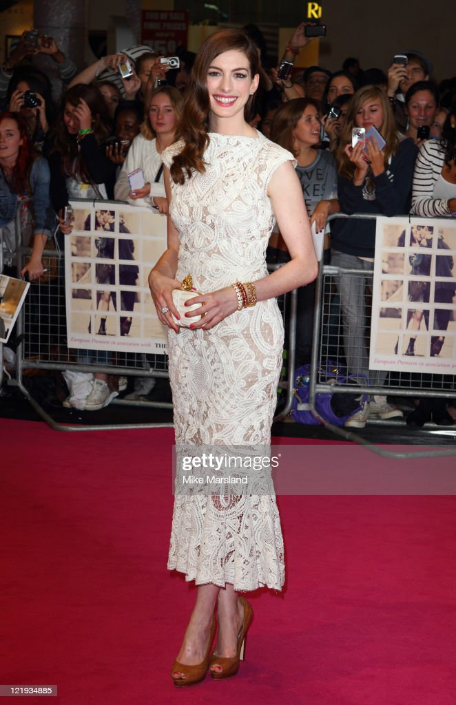 <a gi-track='captionPersonalityLinkClicked' href=/galleries/search?phrase=Anne+Hathaway+-+Actress&family=editorial&specificpeople=11647173 ng-click='$event.stopPropagation()'>Anne Hathaway</a> attends the European film premiere of 'One Day' at Vue Westfield on August 23, 2011 in London, England.