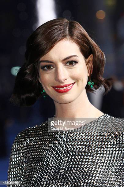 Anne Hathaway attends the European Premiere of 'Interstellar' at the Odeon Leicester Square on October 29 2014 in London England