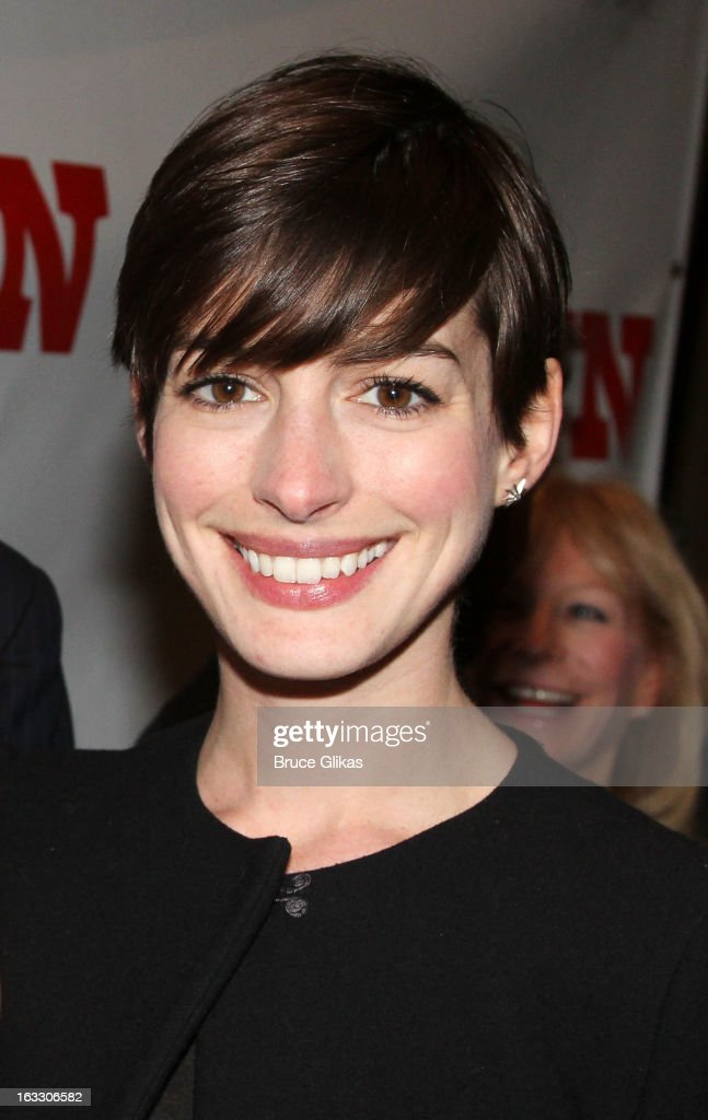 <a gi-track='captionPersonalityLinkClicked' href=/galleries/search?phrase=Anne+Hathaway+-+Actress&family=editorial&specificpeople=11647173 ng-click='$event.stopPropagation()'>Anne Hathaway</a> attends the opening night of 'Ann' at Vivian Beaumont Theatre at Lincoln Center on March 7, 2013 in New York City.