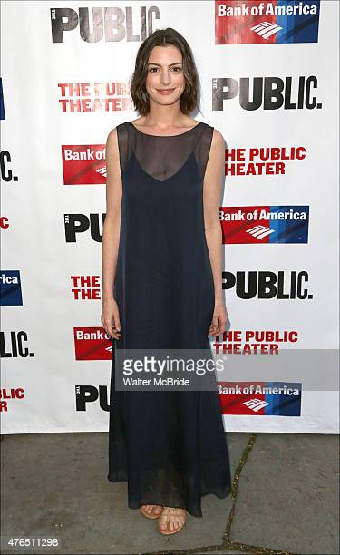 Anne Hathaway attends The Public Theater's Annual Gala at the Delacorte Theater on June 9 2015 in New York City
