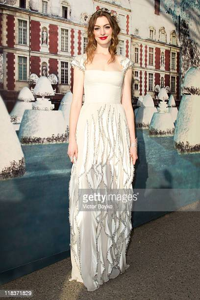 Anne Hathaway attends 'The White Fairy Tale Love Ball' in Support Of 'The Naked Heart Foundation' at Chateau De Wideville on July 6 2011 in...