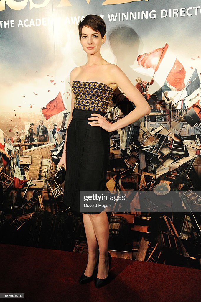 Anne Hathaway attends the world premiere after party for Les Miserables at The Odeon Leicester Square on December 5, 2012 in London, England.