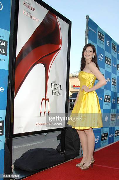 Anne Hathaway during 2006 Los Angeles Film Festival Opening Night 'The Devil Wears Prada' Red Carpet at Mann Villiage Theatre in Westwood California...