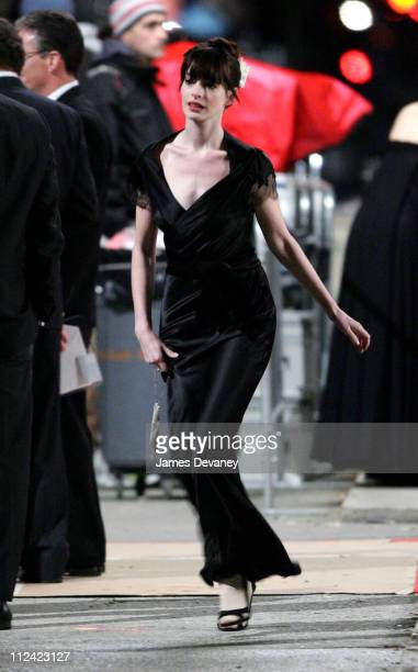 Anne Hathaway during Anne Hathaway on Location for 'The Devil Wears Prada' October 26 2005 at The Museum of Natural History in New York City New York...