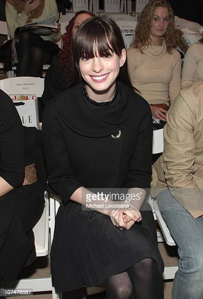 Anne Hathaway during Olympus Fashion Week Fall 2006 Project Runway Front Row and Backstage at Bryant Park in New York City New York United States