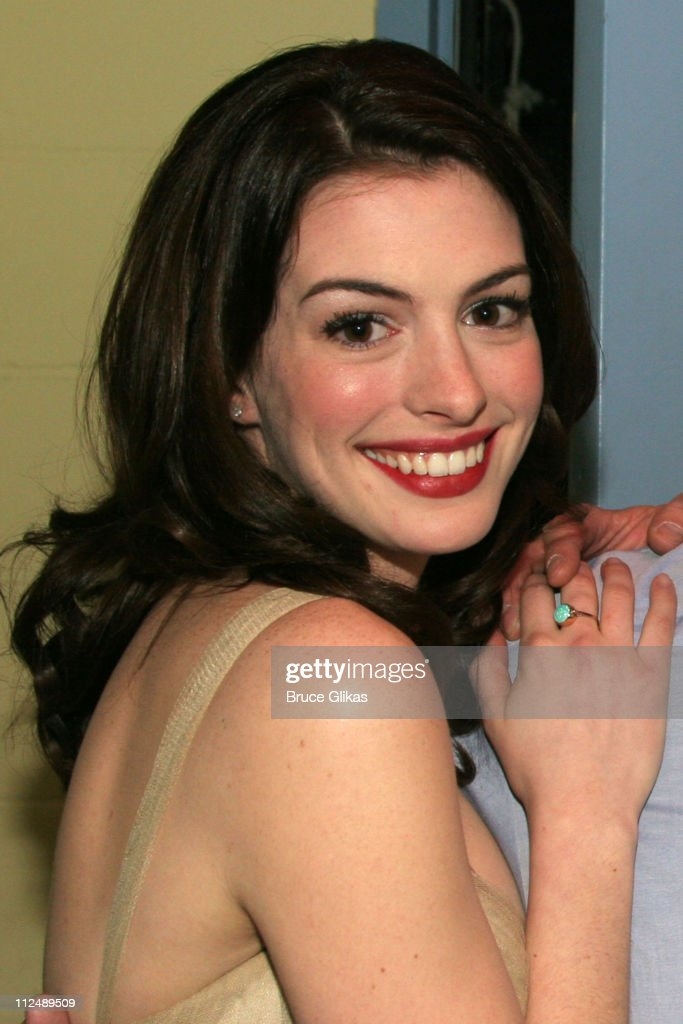 Anne Hathaway during The All-Star Stephen Sondheim 75th Birthday Celebration 'Children and Art' - Inside at Broadway's New Amsterdam Theatre in New York City, New York, United States.
