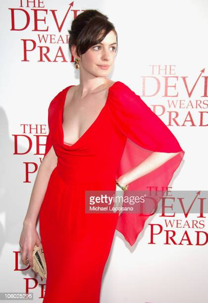 Anne Hathaway during 'The Devil Wears Prada' New York Premiere Arrivals at AMC Loews Lincoln Square in New York City New York United States