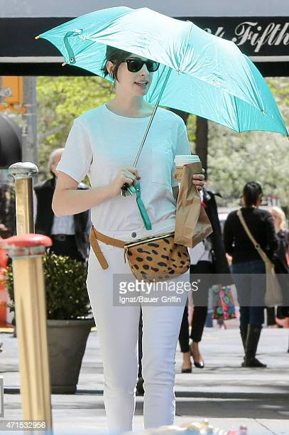 Anne Hathaway is seen in New York City on April 29 2015 in New York City