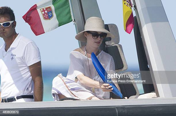 Anne Hathaway is seen on August 12 2015 in Ibiza Spain