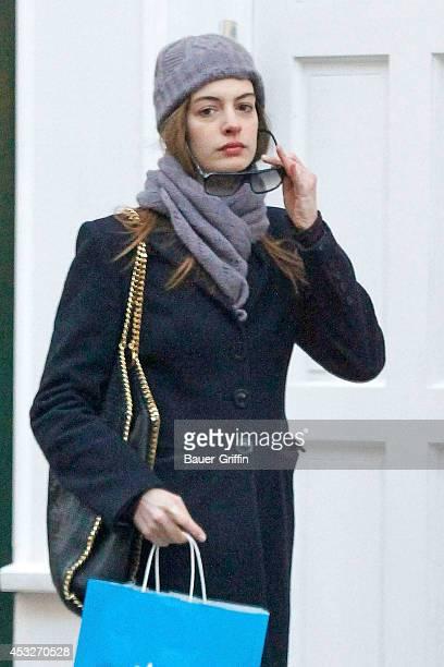 Anne Hathaway is seen on February 11 2012 in London United Kingdom
