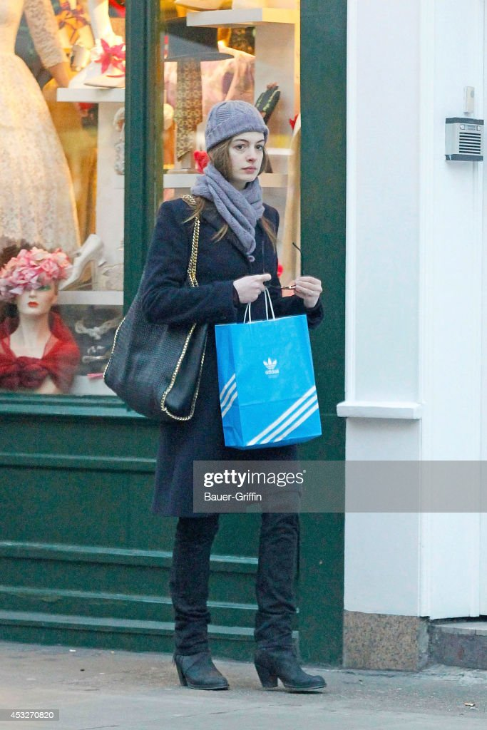 Anne Hathaway is seen on February 11, 2012 in London, United Kingdom.