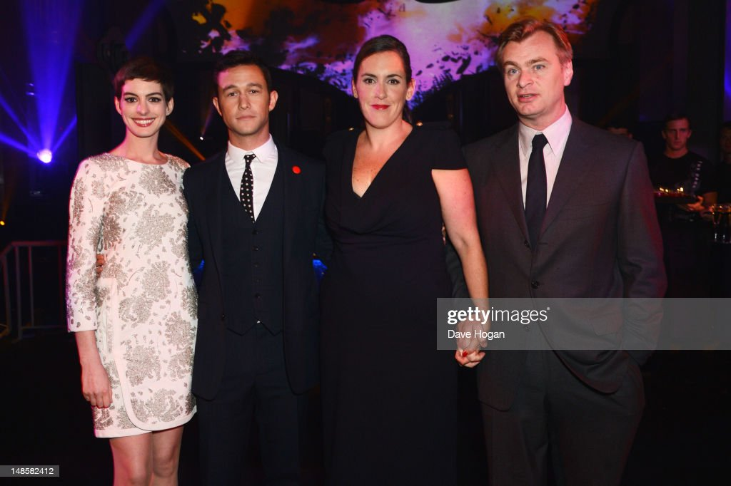 Anne Hathaway Joeseph Gordon Levitt and Christopher Nolan attend the European premiere afterparty of The Dark Knight Rises at Freemasons Hall on July...