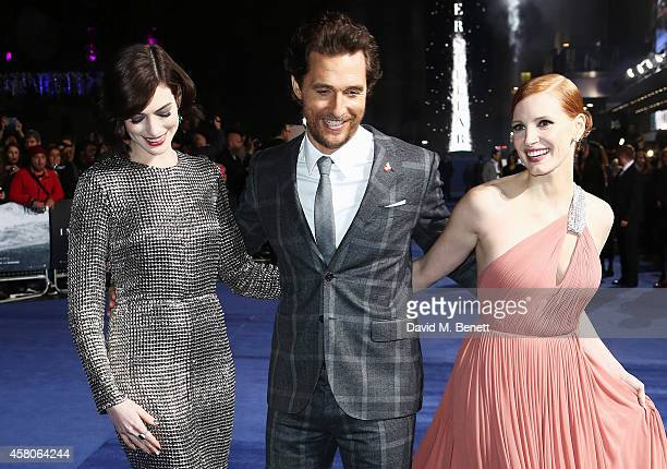 Anne Hathaway Matthew McConaughey and Jessica Chastain attend the European Premiere of 'Interstellar' at the Odeon Leicester Square on October 29...
