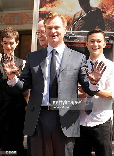 Anne Hathaway Michael Caine Director Christopher Nolan and Joseph GordonLevitt attend Christopher Nolan hand and footprint ceremony at Grauman's...