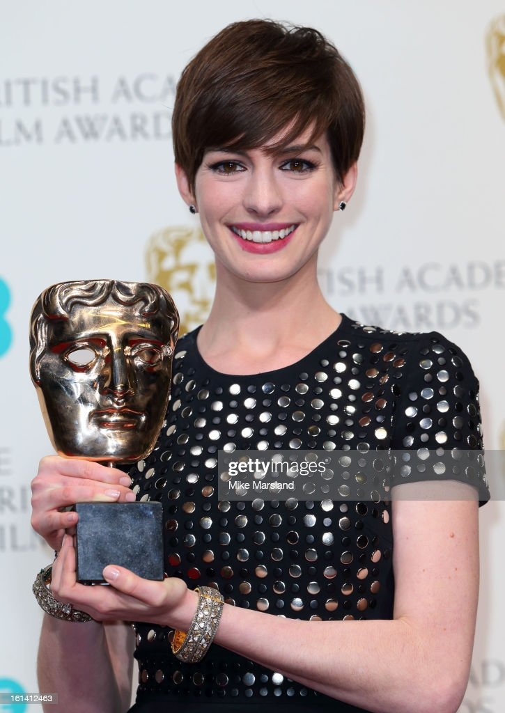 <a gi-track='captionPersonalityLinkClicked' href=/galleries/search?phrase=Anne+Hathaway+-+Actress&family=editorial&specificpeople=11647173 ng-click='$event.stopPropagation()'>Anne Hathaway</a> poses in the Press Room at the EE British Academy Film Awards at The Royal Opera House on February 10, 2013 in London, England.