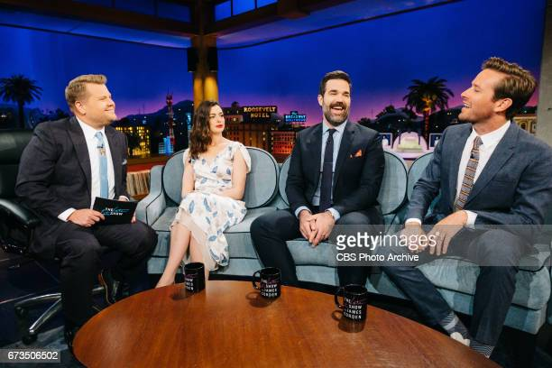 Anne Hathaway Rob Delaney and Armie Hammer chat with James Corden during 'The Late Late Show with James Corden' Thursday April 20 2017 On The CBS...