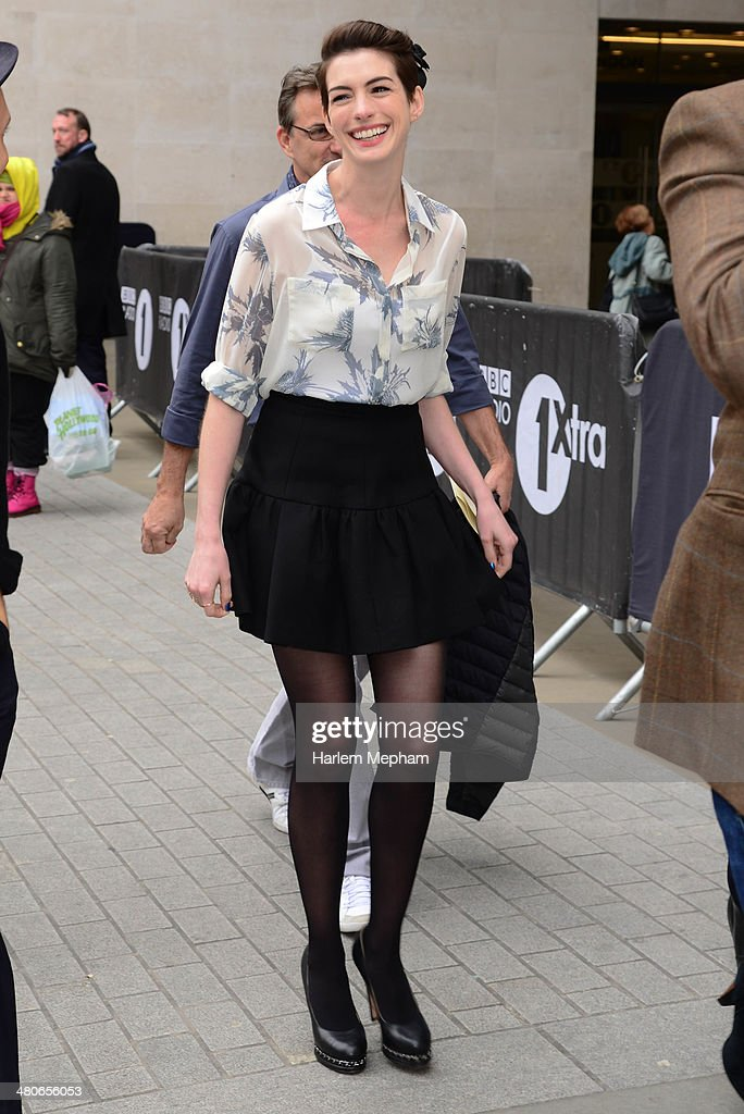<a gi-track='captionPersonalityLinkClicked' href=/galleries/search?phrase=Anne+Hathaway+-+Actress&family=editorial&specificpeople=11647173 ng-click='$event.stopPropagation()'>Anne Hathaway</a> sighted leaving BBC Radio One on March 26, 2014 in London, England.