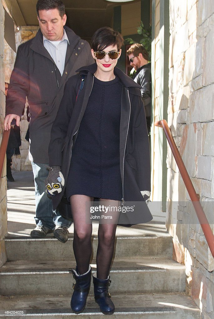 <a gi-track='captionPersonalityLinkClicked' href=/galleries/search?phrase=Anne+Hathaway+-+Actress&family=editorial&specificpeople=11647173 ng-click='$event.stopPropagation()'>Anne Hathaway</a> spoted leaving the Columbia Lounge in Park City on January 21, 2014 in Park City, Utah.