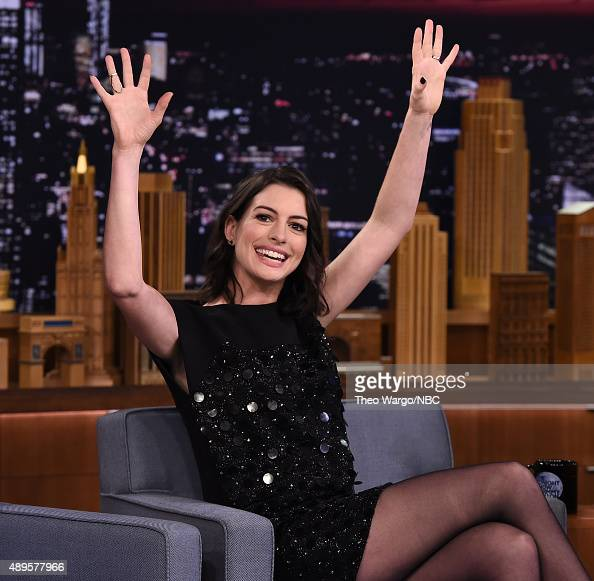 Anne Hathaway Visits 'The Tonight Show Starring Jimmy Fallon' at Rockefeller Center on September 22 2015 in New York City