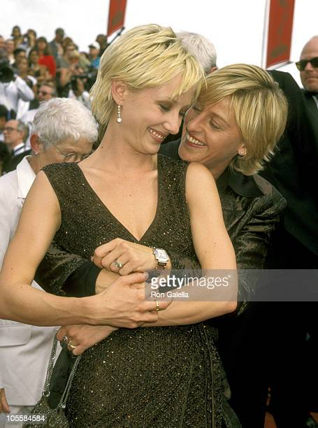 Anne Heche and Ellen DeGeneres during 49th Annual Primetime Emmy Awards at Pasadena Civic Auditorium in Pasadena California United States