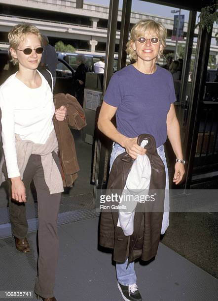 Anne Heche and Ellen DeGeneres during Anne Heche and Ellen DeGeneres Sighting at the Los Angeles International Airport April 16 1997 at Los Angeles...