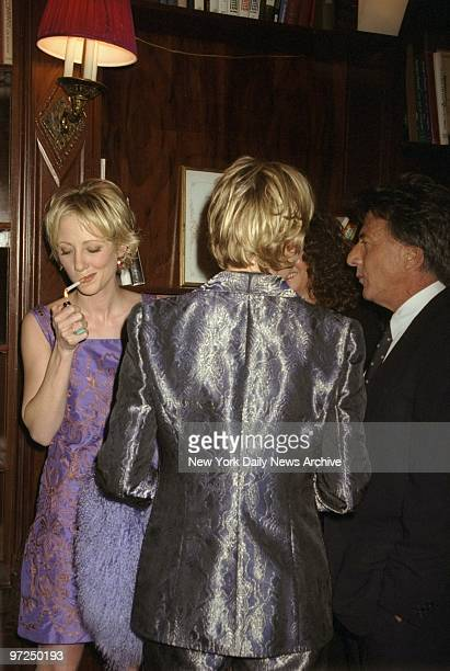 Anne Heche Ellen Degeneres and Dustin Hoffman get together at screening party at LeCirque for the movie 'Wag The Dog' Heche and Hoffman star in the...
