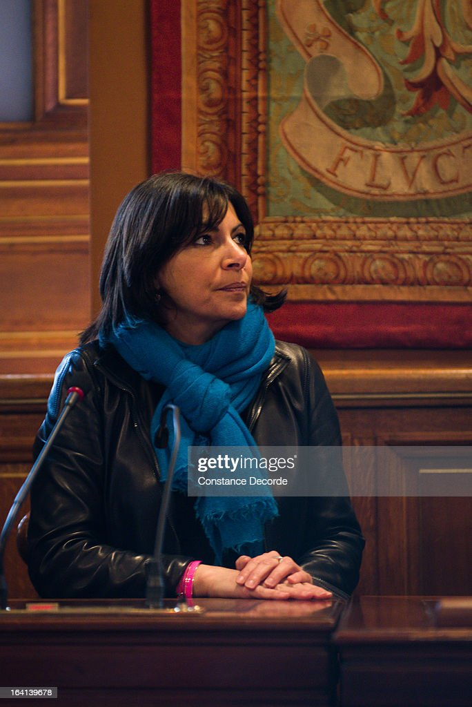 Anne Hidalgo as San Francisco Mayor Ed Lee (not pictured) makes an official visit for the Autolib presentation, on March 20, 2013 in Paris, France.