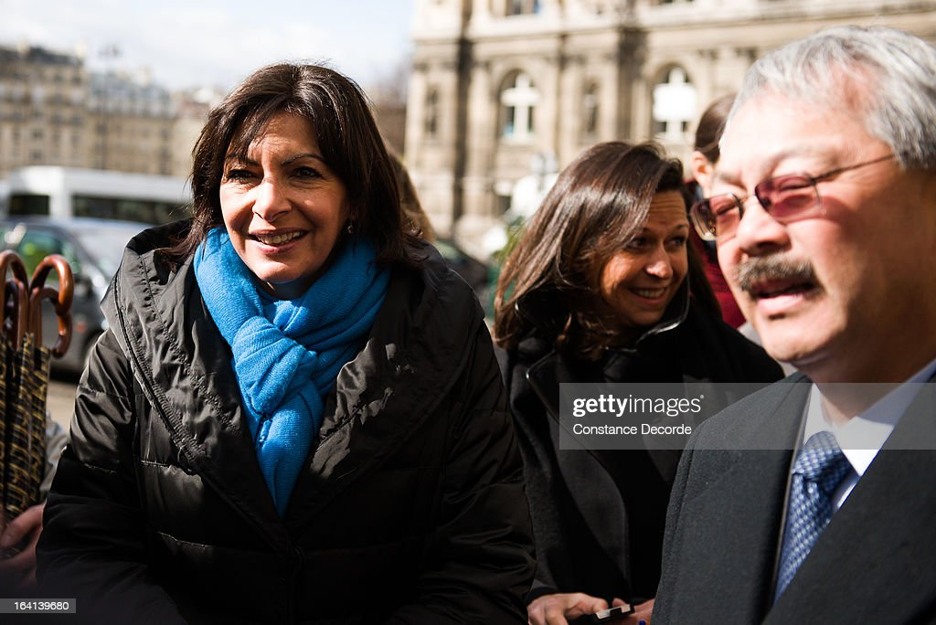 Anne Hidalgo as San Francisco Mayor Ed Lee makes an official visit for the Autolib presentation, on March 20, 2013 in Paris, France.